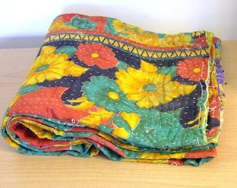 Twin - Handmade Kantha Quilt 100% Cotton - Dream Sequence Flower/Coastal Scales Design
