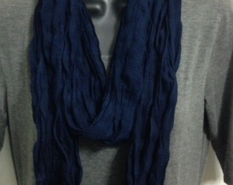 Large Crinkle Cotton  Navy Blue Women's Scarf Shawl