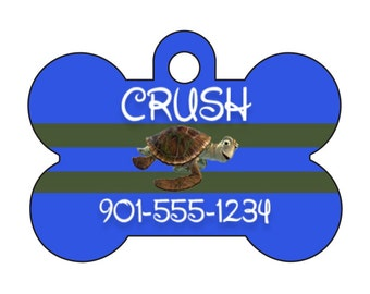 Disney Finding Nemo Crush Personalized Dog Tag Pet Id Tag w/ Your Pet's Name and Number