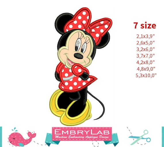 Applique minnie mouse machine embroidery design