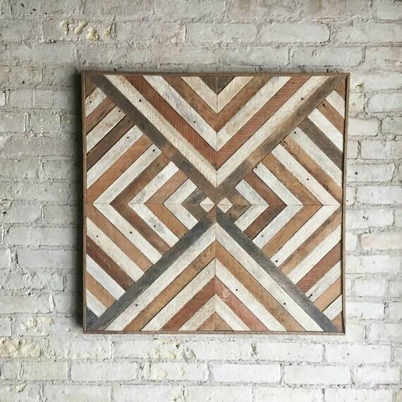 Reclaimed Wood Wall Art, Decor, Lath, Triangle, Diamond, Geometric, 30 x 30