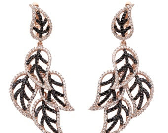 Beautiful 925 silver Earrings for her falling leaves pattern with Black and white zircon