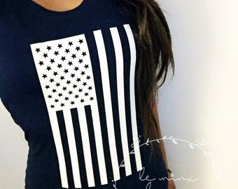 American Flag Usa Military Clothing - WOMEN'S TSHIRT VNECK - America, Patriotic, Marine Corps Usmc, Navy, Air Force Usaf, Army