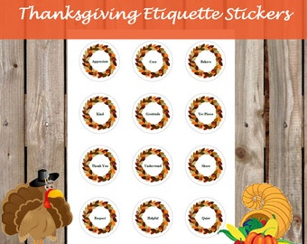 Thanksgiving Stickers - Manners and Etiquette - Children's Activity - PDF INSTANT DOWNLOAD