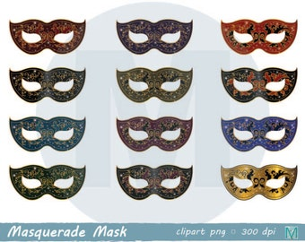 Masquerade Masks- Digital Clip Art for Scrapbooking Card Making Cupcake Toppers Paper Crafts - instant download digital file - PNG