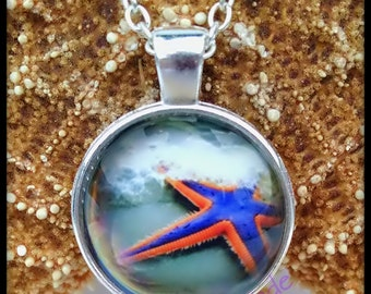 Blue & Pink Starfish Glass Cabochon Necklace, starfish pendant, mermaid pendant, starfish charm, beach jewelry, glass photo, sea life, sand