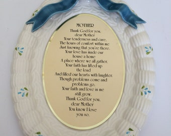 "Vintage Ceramic Wall Plaque MOTHER POEM Blue Bow 10"" x 7"""