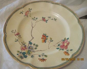 "vintage victorian 10""dinner plate,johnson bros.england,princess mary design,cream colored,scalloped rim"