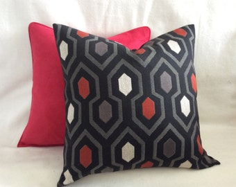 Geometric Designer Pillow Cover Set - Black/Red/Gray