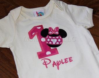 Girl Mouse Applique Birthday Onesie