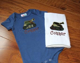 Boy Tank Applique Onesie/Burp Cloth Set