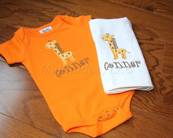 Giraffe Applique Onesie/Burp Cloth Set