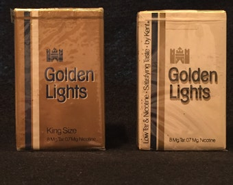 Golden Lights Cigarette Collector Packs by Kent - Unopened - 2 Regular - sold 1 each