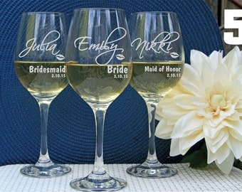 6 Personalized Wine Glasses, Custom Wine Glasses, Engraved Wine Glasses, Bridal Party  Favors, Wedding Party Favors, Bridesmaid gifts.