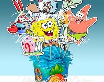 "Printable Centerpiece "" Bob Sponge"" (Instant download)"