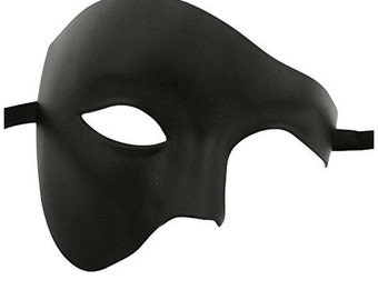 Luxury Mask Phantom Of The Opera Half Face Masquerade Mask Vintage Design BLACK