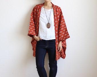 Japanese Kimono, Haori, red kimono jacket, floral short kimono /677