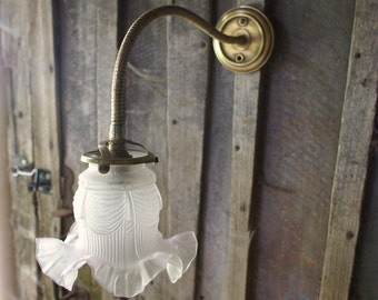 Wall Light Brass White Glass, Vintage French