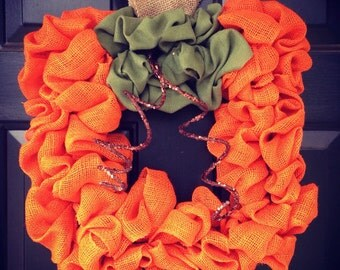 Square Burlap Fall Pumpkin Wreath