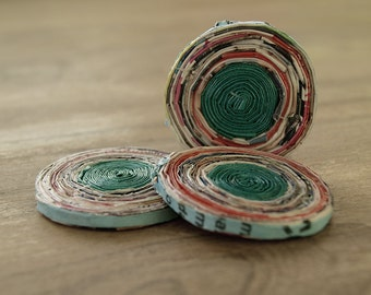 paper beads, recycled paper beads, round beads, green paper beads, recycled beads, jewelry making, recycled paper beads 45mm