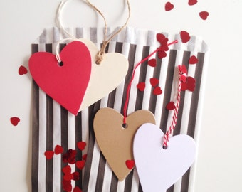 Heart Tags Set (20 pack), Blank Heart Shaped Tags, Valentines Tags, Paper Tags, Wedding Tags, Gift Wrapping