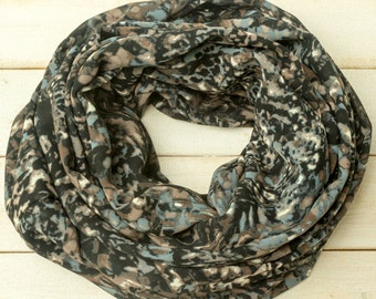 Dark Blue Scarf, Infinity Scarf, Abstract Scarf, Fall and Winter Scarf, Fall and Winter Accessory