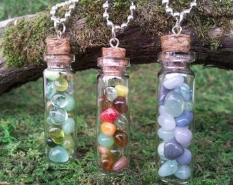 Faerie Flask glass bottle necklace vial pendant filled with choice of colored glass gem pebbles, on ball chain