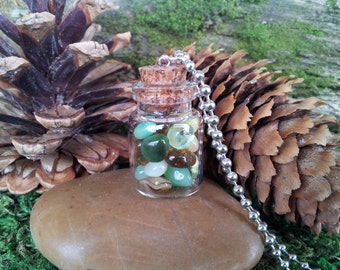 Sherwood Forest: Faerie Flask tiny glass bottle necklace vial pendant with woodland-hued glass pebbles, on ball chain