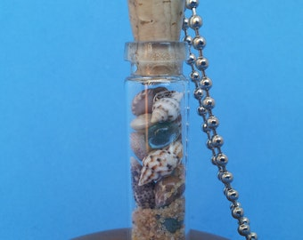 Beach in a Bottle: Faerie Flask glass bottle necklace vial pendant filled with sea shells, glass pebbles and sand, on bead ball chain