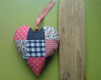 Fabric heart , patchwork heart , handmade heart , handmade fabric heart , hanging heart , fabric love heart