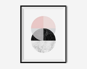 Circle Wall Art, Marble Poster Design, Geometric Art, Marble Wall Print, Printable Home Decor, Pastel Print, Black and Pink