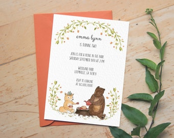Digital Birthday Invitation / Printed Invitation possible! / Bear / Birthday Party Invite / Kids Birthday Cute / Bridal Shower Invitation