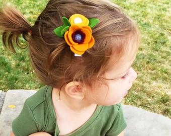 Handmade Felt Flower Clip // One Size // Alligator Clip // Elastic Band // Nylon Headband // Spice, Mustard, Wine, Gray, White, Green Leaves