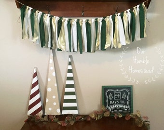 Green, White, and Gold Christmas Banner - Fabric Banner, Bunting, Garland, Christmas Decor