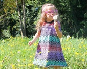 High Low Sundress, tribal, baby sundress, dress, rainbow, girls dress, baby shower gift, custom baby clothes, first birthday outfit