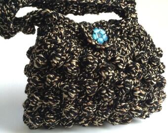 Crochet Purse, Popcorn Stitch Handbag, Black and White