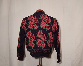 SALE 50% Off UGLY CHRISTMAS SWEATEr Vintage L Large Poinsettia Black