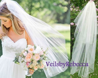 2 tiers fingertip length tulle veil, simple blusher tulle veil, tulle wedding veils, tulle bridal veils in many colors for your choice