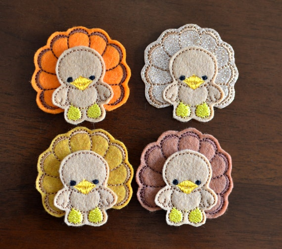 TURKEY FELTIES -Choice of Two Thanksgiving Felties / Felt Appliques / Trimmed / Bow Centers, Planner Clips, Bookmarks, Pacifier Clips