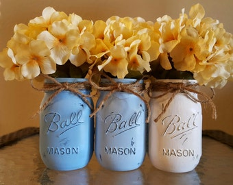 Mason Jars - Blue and White Ombre Painted and Distressed Mason Jars