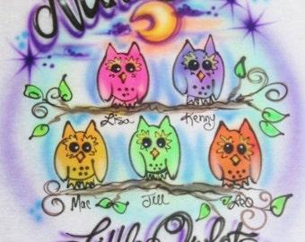 Owl shirt, Owl design, Mom gift, Grandma gift, Owl tshirt, Halloween shirt, personalized t shirt, personalized gifts