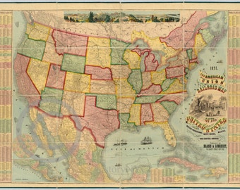 1871 Old Historical Map American Union Railroad West Indies - Reprint