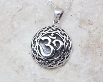 Sterling Silver Om Necklace choose your chain, Sterling silver Om necklace, Yoga Om meditation symbol Pendant, Sterling silver Om 214