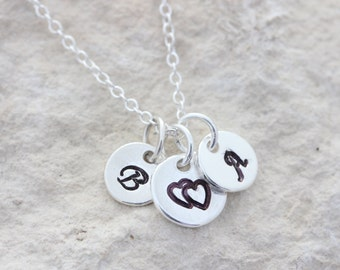 Sterling silver three initial disc necklace, initial necklace, initials sterling silver necklace, hand stamped initials silver necklace