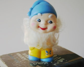 Soviet Rubber Toy/Vintage Rubber Toy/Friendly Dwarf/Positive Rubber Toy/Colorful Dwarf/Soviet Collectibles/USSR Childhood/Soviet Toy