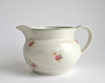 Vintage English china jug with painted pink flowers