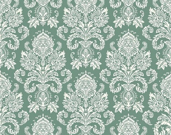 Postcards for Santa Damask Green by Riley Blake Designs C4752 - Christmas 100% Cotton Woven Quilt Fabric - by the yard fat quarter half