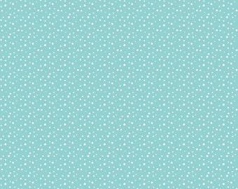 SALE Pixie Noel Snow Aqua by Riley Blake Designs - Blue Christmas Polka Dot - Quilting Cotton Fabric - choose your cut