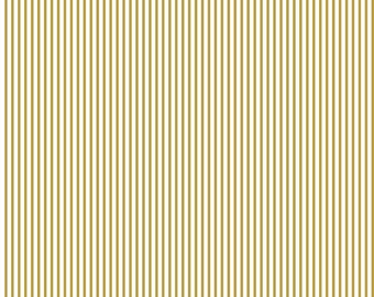 Small Stripe SPARKLE Gold by Riley Blake Designs - Metallic White Pin Stripe - Quilting Cotton Fabric - by the yard fat quarter half