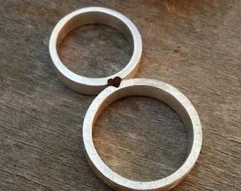 Matching Wedding Rings Wedding Band set Mixed Metals Wedding Rings His and Hers Wedding Rings Brushed Matte Finish Textured Personalized